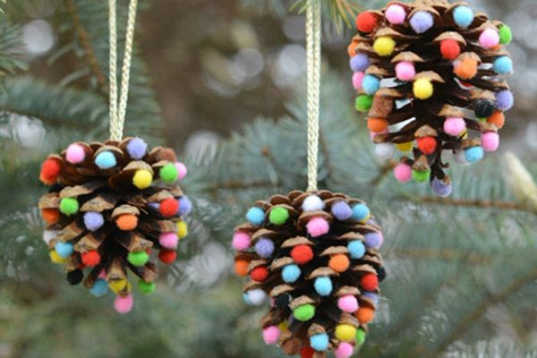 Pinecone Pom Pom Ornaments