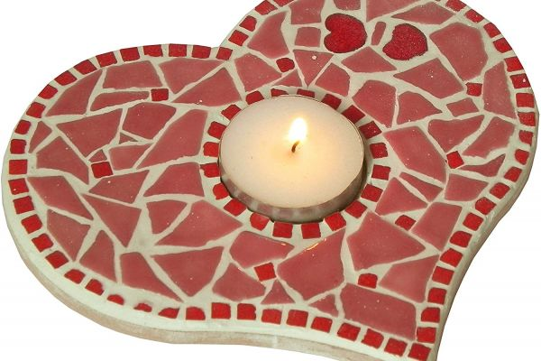 Mosaic Heart Tea Light