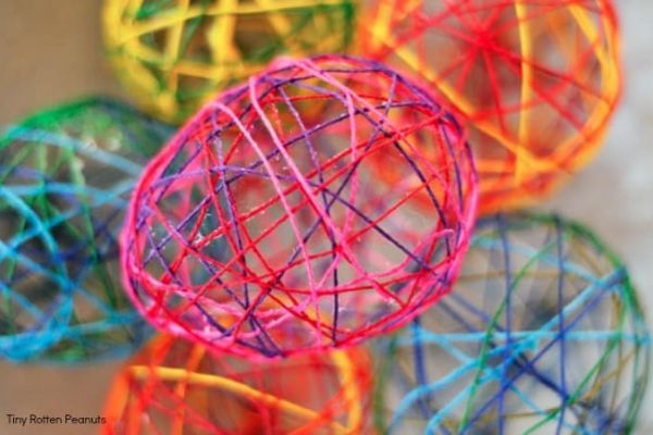 Colorful String Easter Eggs